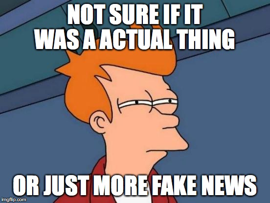 Futurama Fry Meme | NOT SURE IF IT WAS A ACTUAL THING OR JUST MORE FAKE NEWS | image tagged in memes,futurama fry | made w/ Imgflip meme maker
