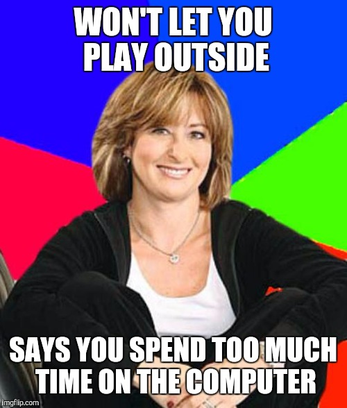 Sheltering Suburban Mom Meme | WON'T LET YOU PLAY OUTSIDE SAYS YOU SPEND TOO MUCH TIME ON THE COMPUTER | image tagged in memes,sheltering suburban mom | made w/ Imgflip meme maker