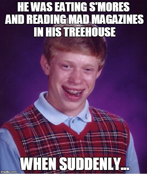 Bad Luck Brian Meme | HE WAS EATING S'MORES AND READING MAD MAGAZINES IN HIS TREEHOUSE WHEN SUDDENLY... | image tagged in memes,bad luck brian | made w/ Imgflip meme maker