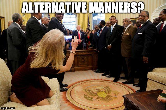 Kellyanne Couch Potatoe | ALTERNATIVE MANNERS? | image tagged in kellyanne conway,couch,sofa | made w/ Imgflip meme maker