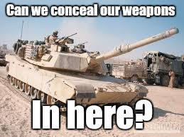 Can we conceal our weapons In here? | made w/ Imgflip meme maker