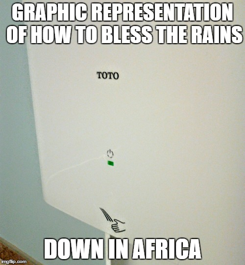 GRAPHIC REPRESENTATION OF HOW TO BLESS THE RAINS DOWN IN AFRICA | image tagged in toto,africa | made w/ Imgflip meme maker