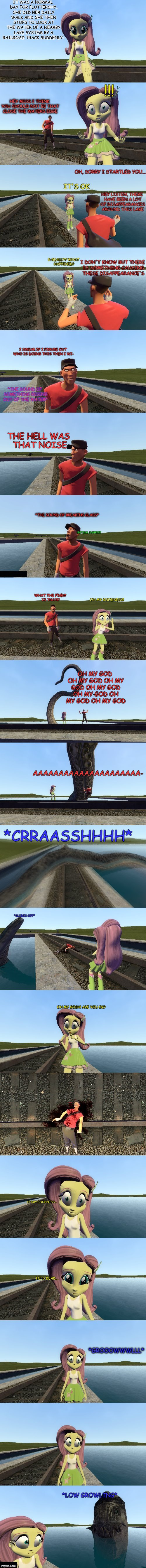 Monster of the lake | THE HELL WAS THAT NOISE *THE SOUND OF BREAKING GLASS* CRITICAL SURPRISE OH MY GOODNESS! WHAT THE F%@# IS THAT!? OH MY GOD OH MY GOD OH MY GO | image tagged in comic,nuff' said | made w/ Imgflip meme maker