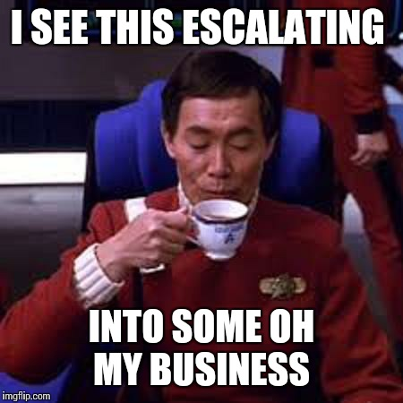 Sulu that's ooohh my business | I SEE THIS ESCALATING INTO SOME OH MY BUSINESS | image tagged in sulu that's ooohh my business | made w/ Imgflip meme maker