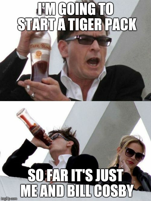 Charlie Sheen none of your business | I'M GOING TO START A TIGER PACK SO FAR IT'S JUST ME AND BILL COSBY | image tagged in charlie sheen none of your business | made w/ Imgflip meme maker