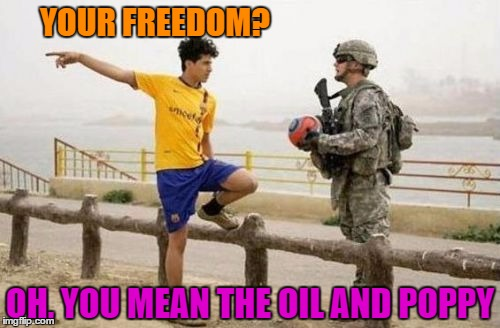 Fifa E Call Of Duty | YOUR FREEDOM? OH, YOU MEAN THE OIL AND POPPY | image tagged in memes,fifa e call of duty | made w/ Imgflip meme maker