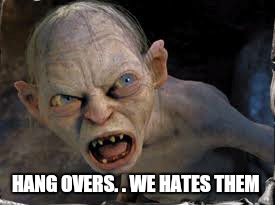 HANG OVERS. . WE HATES THEM | made w/ Imgflip meme maker