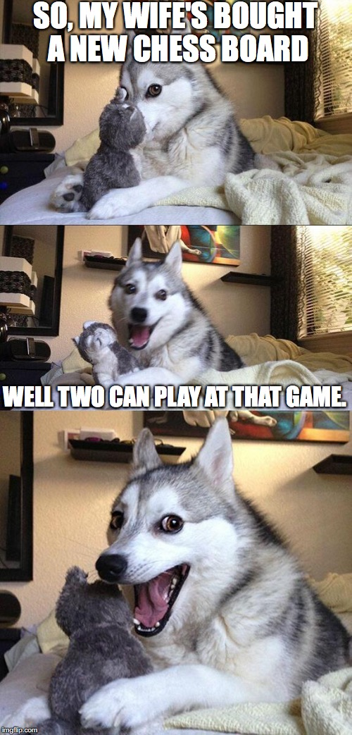 Bad Pun Dog Meme | SO, MY WIFE'S BOUGHT A NEW CHESS BOARD WELL TWO CAN PLAY AT THAT GAME. | image tagged in memes,bad pun dog | made w/ Imgflip meme maker