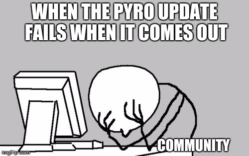 Computer Guy Facepalm Meme | WHEN THE PYRO UPDATE FAILS WHEN IT COMES OUT COMMUNITY | image tagged in memes,computer guy facepalm | made w/ Imgflip meme maker