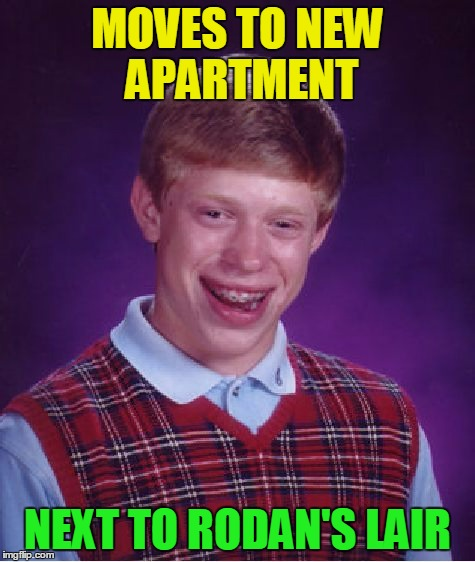 Bad Luck Brian Meme | MOVES TO NEW APARTMENT NEXT TO RODAN'S LAIR | image tagged in memes,bad luck brian | made w/ Imgflip meme maker