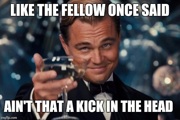 Leonardo Dicaprio Cheers Meme | LIKE THE FELLOW ONCE SAID AIN'T THAT A KICK IN THE HEAD | image tagged in memes,leonardo dicaprio cheers | made w/ Imgflip meme maker