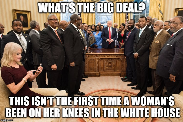 kellyanne conway | WHAT'S THE BIG DEAL? THIS ISN'T THE FIRST TIME A WOMAN'S BEEN ON HER KNEES IN THE WHITE HOUSE | image tagged in kellyanne conway | made w/ Imgflip meme maker