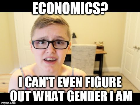 ECONOMICS? I CAN'T EVEN FIGURE OUT WHAT GENDER I AM | image tagged in gender,economics,feel the bern | made w/ Imgflip meme maker