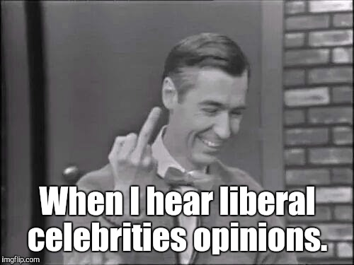 1e0cr2.jpg | When I hear liberal celebrities opinions. | image tagged in 1e0cr2jpg | made w/ Imgflip meme maker