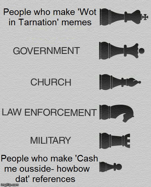 The Sociological Hierarchy of Memers | image tagged in what in tarnation,chess,cash me ousside how bow dah,expanding brain | made w/ Imgflip meme maker