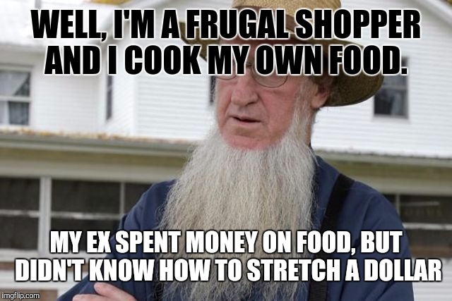 WELL, I'M A FRUGAL SHOPPER AND I COOK MY OWN FOOD. MY EX SPENT MONEY ON FOOD, BUT DIDN'T KNOW HOW TO STRETCH A DOLLAR | made w/ Imgflip meme maker