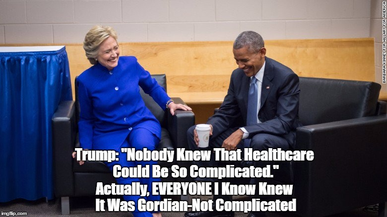 "Trump: ""Nobody Knew That Healthcare Could Be So Complicated."" Actually, EVERYONE I Know Knew It Was Gordian-Not Complicated 