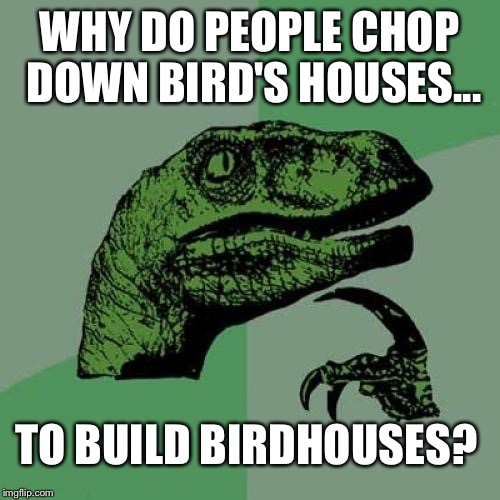 Philosoraptor Meme | WHY DO PEOPLE CHOP DOWN BIRD'S HOUSES... TO BUILD BIRDHOUSES? | image tagged in memes,philosoraptor | made w/ Imgflip meme maker