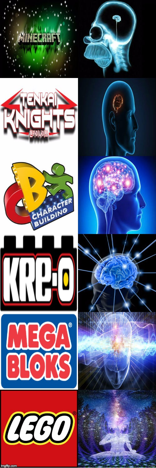 Expanding Quality Of Plastic Bricks | image tagged in expanding brain,funny,lego week,lego,mega bloks,memes | made w/ Imgflip meme maker