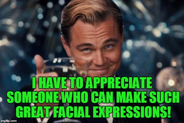 Leonardo Dicaprio Cheers Meme | I HAVE TO APPRECIATE SOMEONE WHO CAN MAKE SUCH GREAT FACIAL EXPRESSIONS! | image tagged in memes,leonardo dicaprio cheers | made w/ Imgflip meme maker
