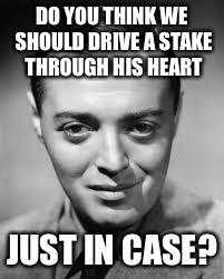 DO YOU THINK WE SHOULD DRIVE A STAKE THROUGH HIS HEART JUST IN CASE? | made w/ Imgflip meme maker