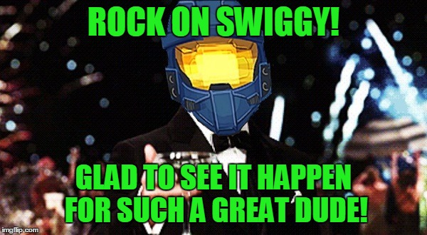 Cheers Ghost | ROCK ON SWIGGY! GLAD TO SEE IT HAPPEN FOR SUCH A GREAT DUDE! | image tagged in cheers ghost | made w/ Imgflip meme maker