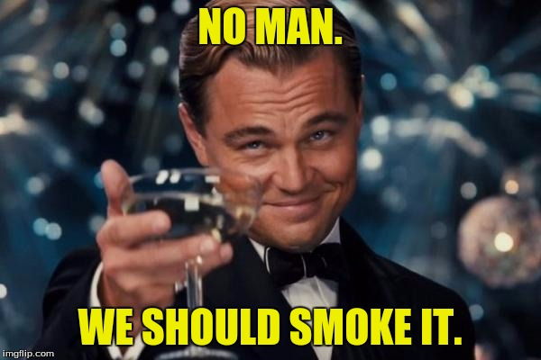 Leonardo Dicaprio Cheers Meme | NO MAN. WE SHOULD SMOKE IT. | image tagged in memes,leonardo dicaprio cheers | made w/ Imgflip meme maker