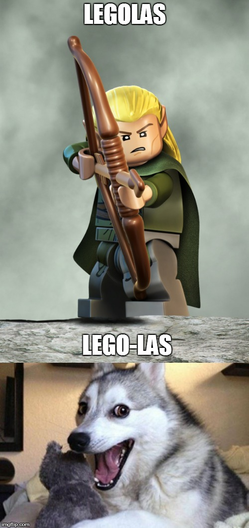 LOTR @ Lego Week - A Juicydeath1025 Event |  LEGOLAS; LEGO-LAS | image tagged in memes,lego,legolas,lego week,bad pun dog | made w/ Imgflip meme maker