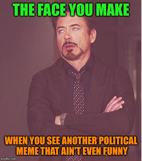 Face You Make Robert Downey Jr Meme |  THE FACE YOU MAKE; WHEN YOU SEE ANOTHER POLITICAL MEME THAT AIN'T EVEN FUNNY | image tagged in memes,face you make robert downey jr | made w/ Imgflip meme maker