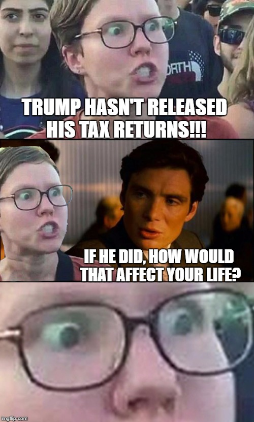 Inception Liberal | TRUMP HASN'T RELEASED HIS TAX RETURNS!!! IF HE DID, HOW WOULD THAT AFFECT YOUR LIFE? | image tagged in inception liberal | made w/ Imgflip meme maker