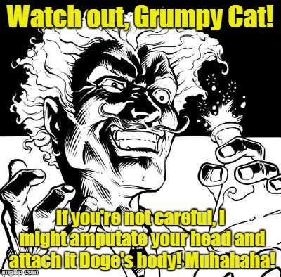 Watch out, Grumpy Cat! If you're not careful, I might amputate your head and attach it Doge's body! Muhahaha! | made w/ Imgflip meme maker