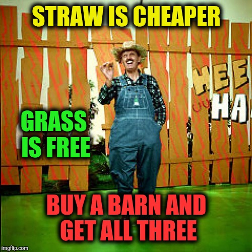 STRAW IS CHEAPER BUY A BARN AND GET ALL THREE GRASS IS FREE | made w/ Imgflip meme maker