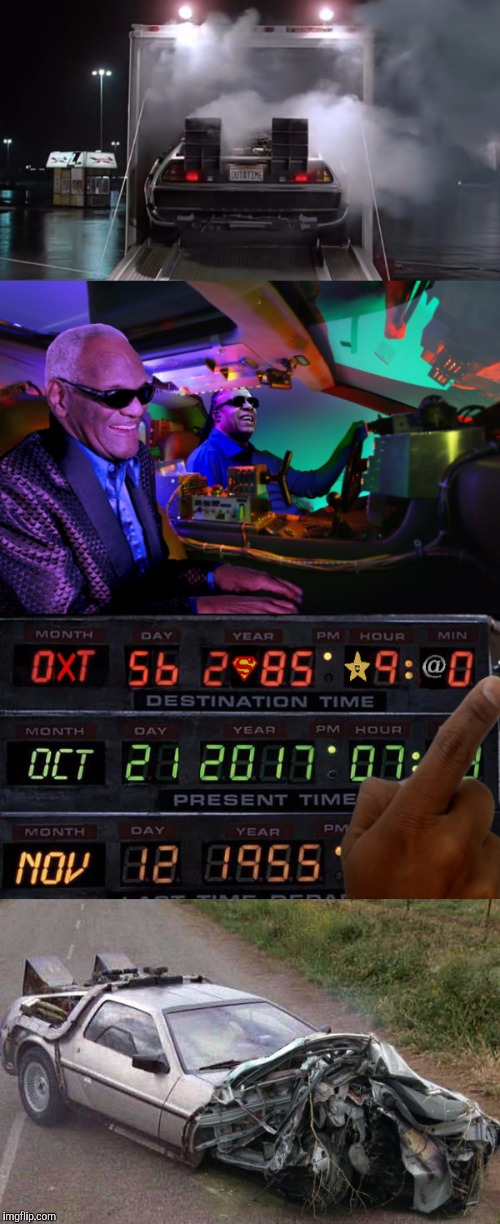 DONTNEEDROADS | . | image tagged in back to the future,blind,funny,ray charles and stevie wonder,stevie wonder driving | made w/ Imgflip meme maker