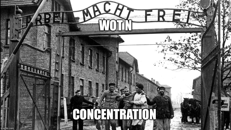 Wot N Concentration |  WOT N; CONCENTRATION | image tagged in wot in tarnation,racism,funny memes,dark humor,dank | made w/ Imgflip meme maker