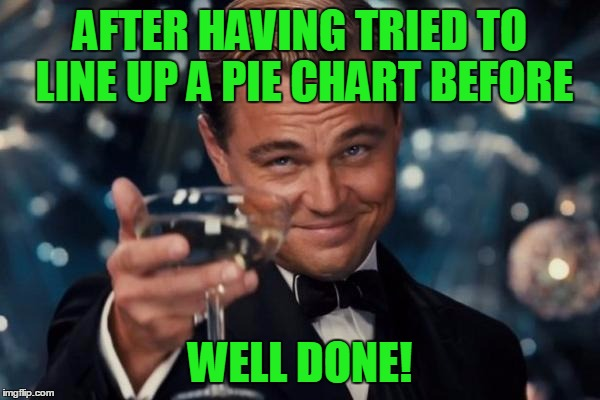 Leonardo Dicaprio Cheers Meme | AFTER HAVING TRIED TO LINE UP A PIE CHART BEFORE WELL DONE! | image tagged in memes,leonardo dicaprio cheers | made w/ Imgflip meme maker