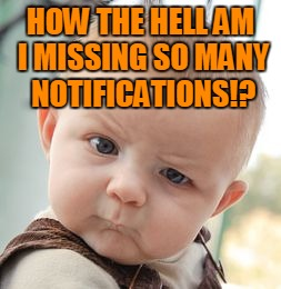Skeptical Baby Meme | HOW THE HELL AM I MISSING SO MANY NOTIFICATIONS!? | image tagged in memes,skeptical baby | made w/ Imgflip meme maker