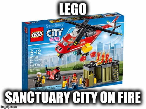 Lego sanctuary city on fire. Imagine your the ICE agents and given the order to BURN THEM OUT | LEGO SANCTUARY CITY ON FIRE | image tagged in lego week | made w/ Imgflip meme maker