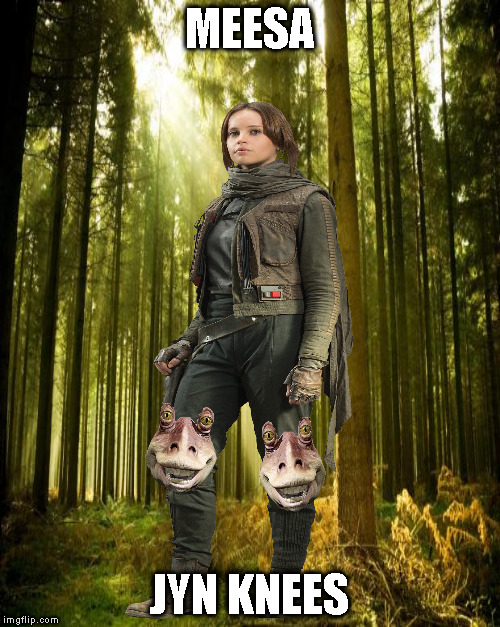 Third submission visual pun: Misogyny | MEESA JYN KNEES | image tagged in memes,disney killed star wars,star wars kills disney,the farce awakens,visual pun,third submission | made w/ Imgflip meme maker