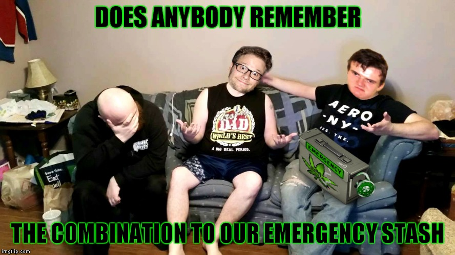 I wrote it down somewhere but forgot where I put it... 420 week McCheesebag style.. | DOES ANYBODY REMEMBER THE COMBINATION TO OUR EMERGENCY STASH | image tagged in 10 guy,seth rogan,emergency,420 week,johnny mccheesebag | made w/ Imgflip meme maker