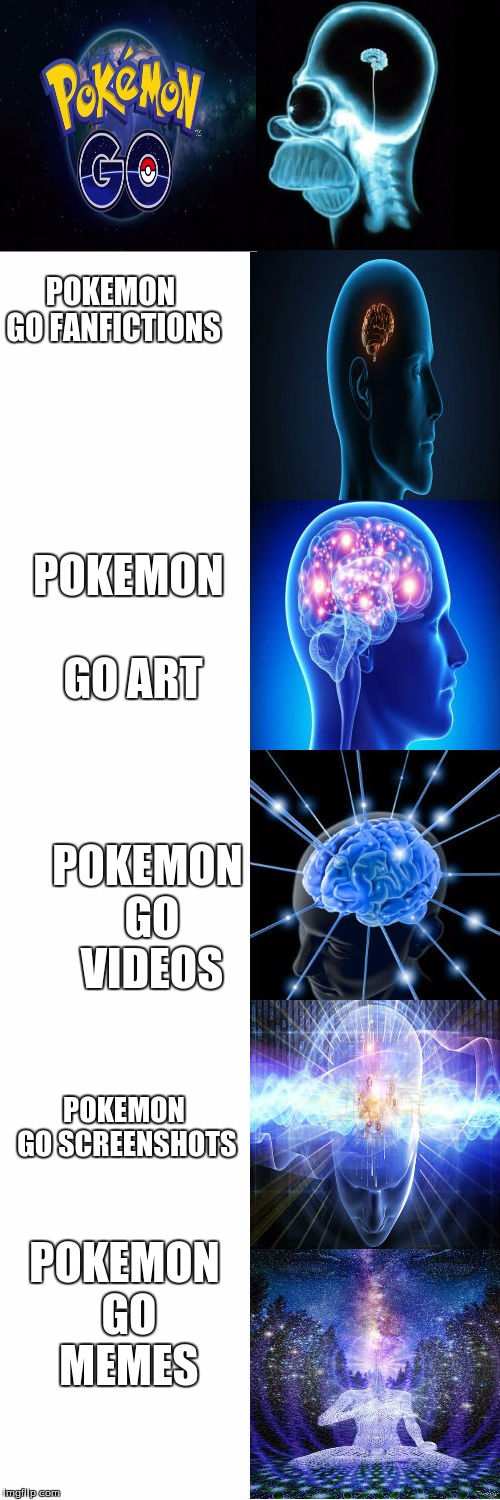 Expanding Brain | POKEMON GO FANFICTIONS POKEMON GO ART POKEMON GO VIDEOS POKEMON GO SCREENSHOTS POKEMON GO MEMES | image tagged in expanding brain | made w/ Imgflip meme maker