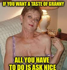 IF YOU WANT A TASTE OF GRANNY ALL YOU HAVE TO DO IS ASK NICE | made w/ Imgflip meme maker