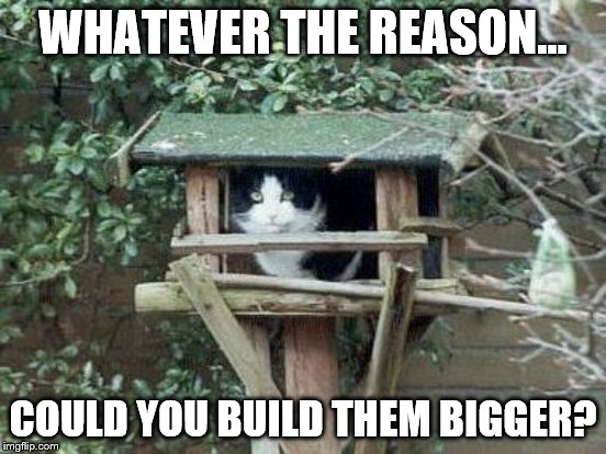 WHATEVER THE REASON... COULD YOU BUILD THEM BIGGER? | made w/ Imgflip meme maker