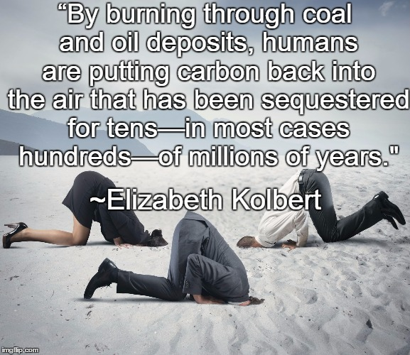 "Republican Committee on Climate Change |  ""By burning through coal and oil deposits, humans are putting carbon back into the air that has been sequestered for tens—in most cases hundreds—of millions of years.""; ~Elizabeth Kolbert 