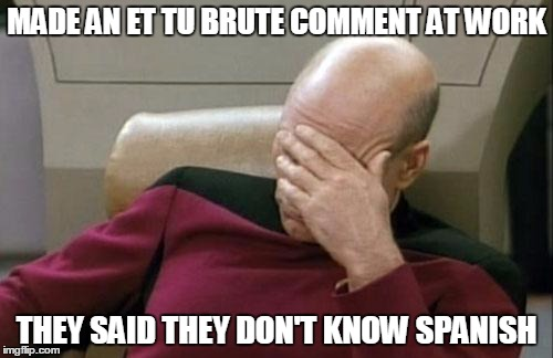 Captain Picard Facepalm Meme | MADE AN ET TU BRUTE COMMENT AT WORK THEY SAID THEY DON'T KNOW SPANISH | image tagged in memes,captain picard facepalm | made w/ Imgflip meme maker