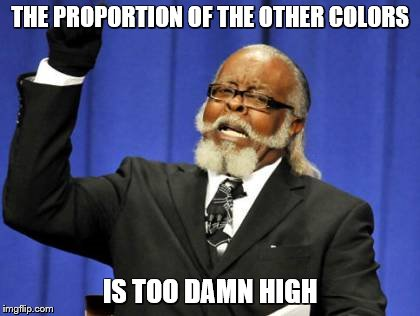 Too Damn High Meme | THE PROPORTION OF THE OTHER COLORS IS TOO DAMN HIGH | image tagged in memes,too damn high | made w/ Imgflip meme maker