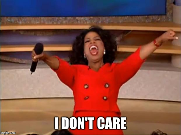 Oprah You Get A Meme | I DON'T CARE | image tagged in memes,oprah you get a | made w/ Imgflip meme maker