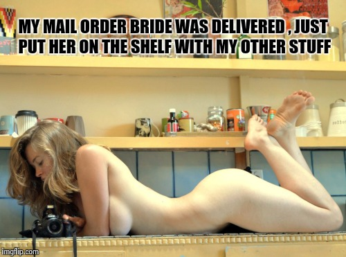 A place for everything and everything in its place  | MY MAIL ORDER BRIDE WAS DELIVERED , JUST PUT HER ON THE SHELF WITH MY OTHER STUFF | image tagged in porn babe,nsfw | made w/ Imgflip meme maker