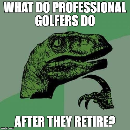 I was thinking about taking up golf after I retire and this just dawned on me | WHAT DO PROFESSIONAL GOLFERS DO AFTER THEY RETIRE? | image tagged in memes,philosoraptor | made w/ Imgflip meme maker