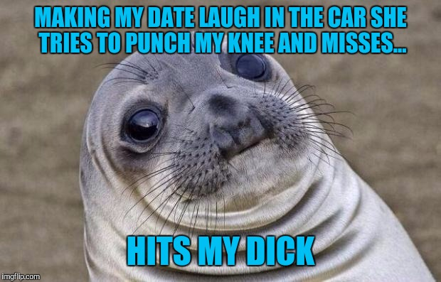 2nd date and she stole 3rd base | MAKING MY DATE LAUGH IN THE CAR SHE TRIES TO PUNCH MY KNEE AND MISSES... HITS MY DICK | image tagged in memes,awkward moment sealion | made w/ Imgflip meme maker