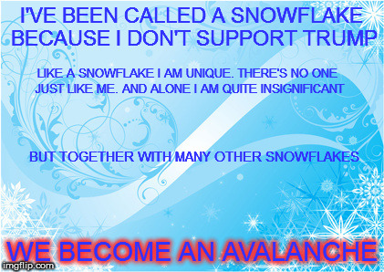 Snowflake avalanche | I'VE BEEN CALLED A SNOWFLAKE BECAUSE I DON'T SUPPORT TRUMP WE BECOME AN AVALANCHE LIKE A SNOWFLAKE I AM UNIQUE. THERE'S NO ONE JUST LIKE ME. | image tagged in snowflakes,avalanche | made w/ Imgflip meme maker